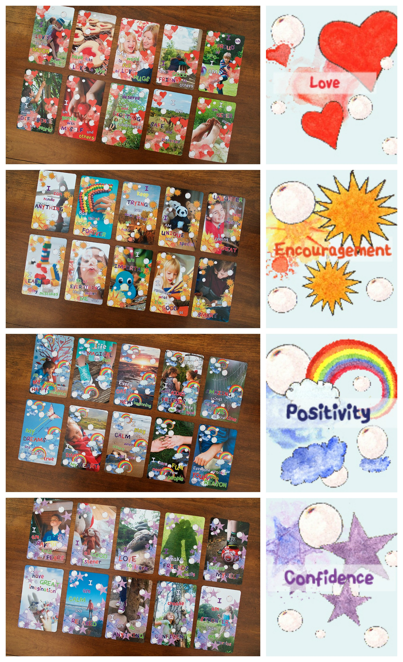 Love Encouragement Positivity and Confidence Affirmation Cards